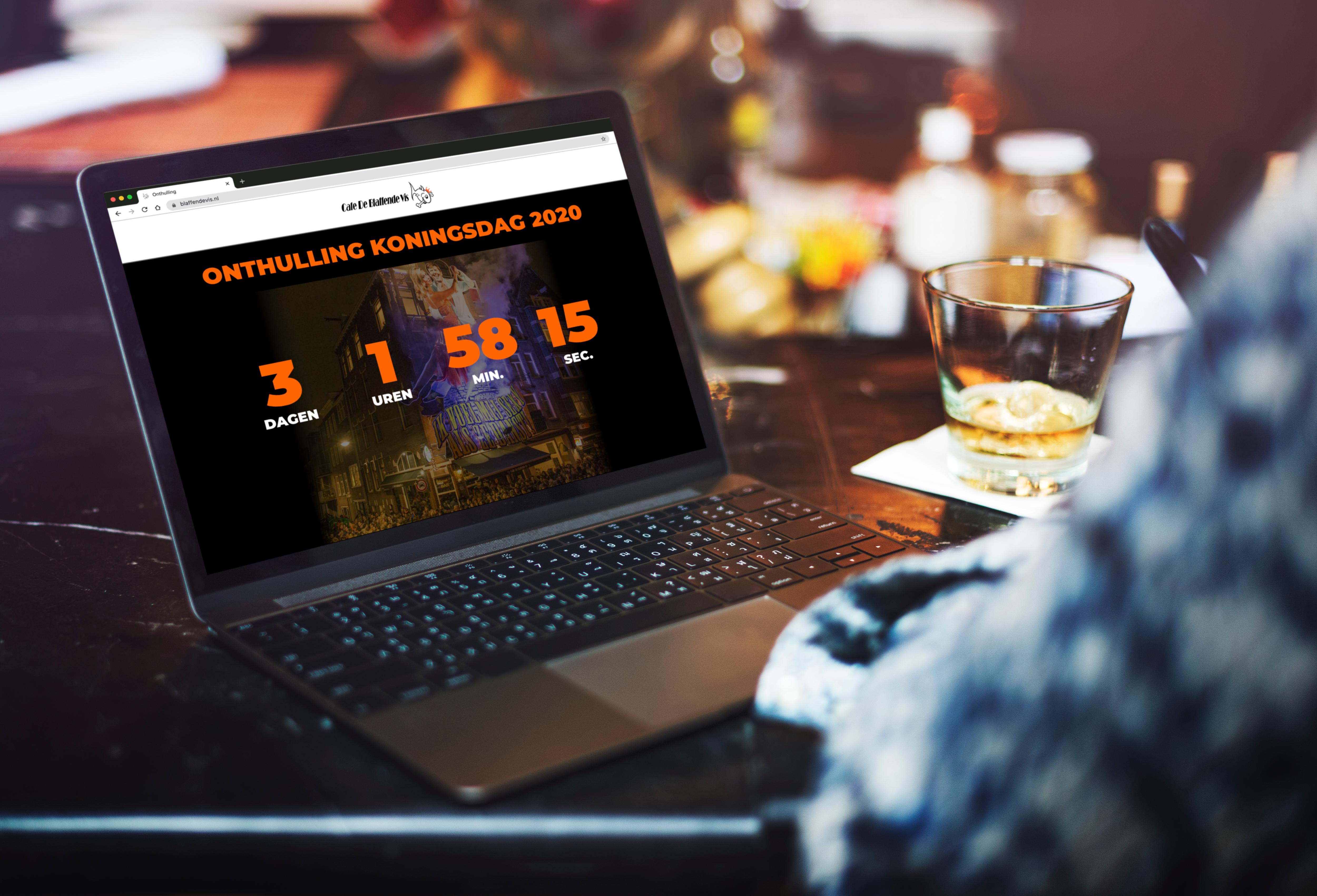 CAFE DE BLAFFENDE VIS KONINGSDAG ONTHULLING 2020 COUNTDOWN WEBSITE